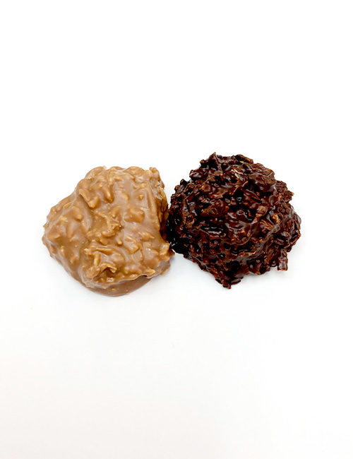 Coconut Kisses, Shredded Coconut Mixed with Chocolate