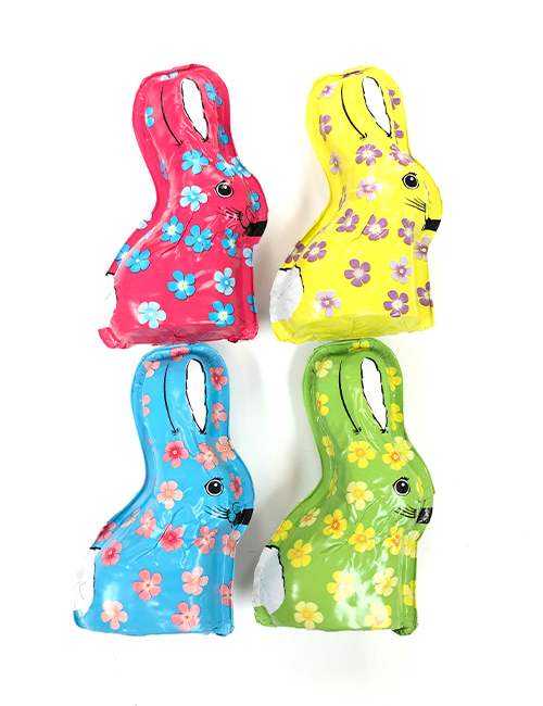 Milk chocolate hollow foiled bunnies