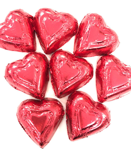 Valentine's Day Milk Chocolate Foiled Hearts